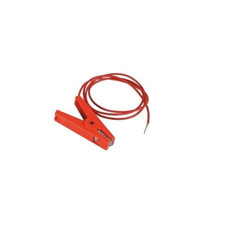 Zaunanschlußkabel, rot, Edelstahlklemme und 3 mm Stift